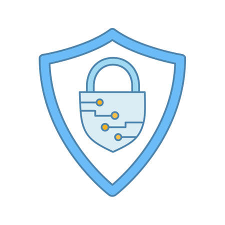Cybersecurity color icon. Safeguard. Shield with closed padlock inside. Artificial intelligence. Isolated vector illustration Stock Illustratie