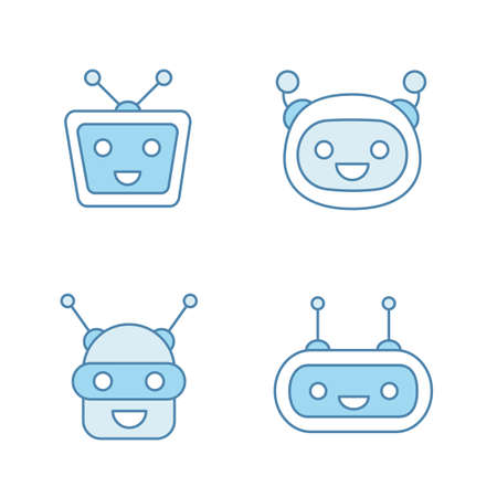 Chatbots color icons set. Talkbots. Laughing virtual assistants collection. Conversational agents. Modern robots. Isolated vector illustrations