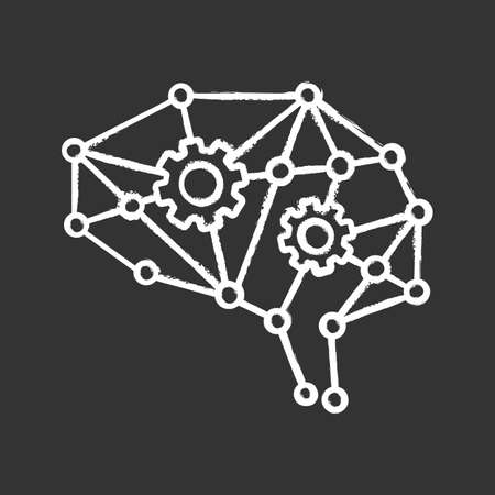 Deep learning AI chalk icon. Neurotechnology. Neural network with cogwheels. Digital brain. Artificial intelligence. Isolated vector illustration