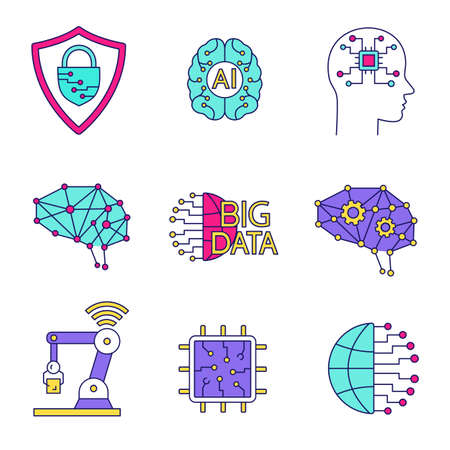 Artificial intelligence color icons set. Neurotechnology. Cybersecurity, ai, digital brain, neural network, big data, iot robot, internet of things, chip. Isolated vector illustrations Stockfoto - 107531003