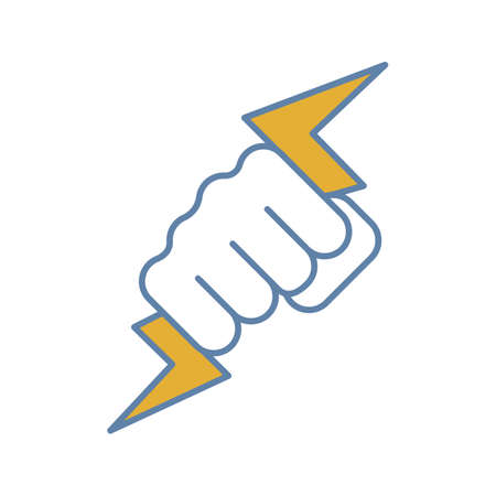 Hand holding lightning bolt color icon. Power fist. Electric energy. Zeus hand. Isolated vector illustration