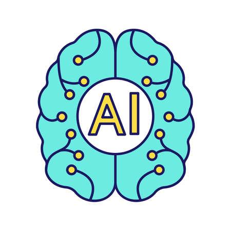 Pictogram voor kleur van kunstmatige intelligentie. Digitaal brein. Neurotechnologie. AI. Geïsoleerde vectorillustratie
