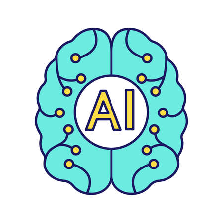 Artificial intelligence color icon. Digital brain. Neurotechnology. AI. Isolated vector illustration