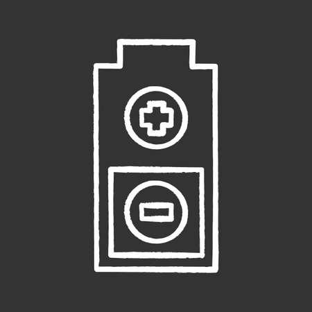 Batterie mit Plus- und Minuszeichen Kreidesymbol. Aufladen. Batteriestandsanzeige. Isolierte Vektortafelillustrationen