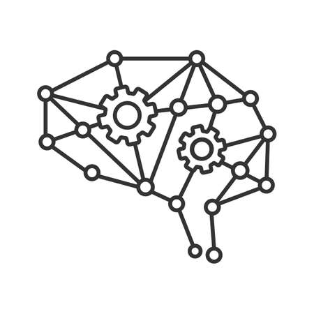 Deep learning AI linear icon. Neural network with cogwheels. Thin line illustration. Digital brain. Artificial intelligence. Contour symbol. Vector isolated outline drawing. Editable stroke Illustration