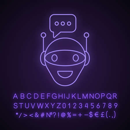 Chat bot neon light icon. Robot. Virtual assistant. Artificial intelligence. Glowing sign with alphabet, numbers and symbols. Vector isolated illustration