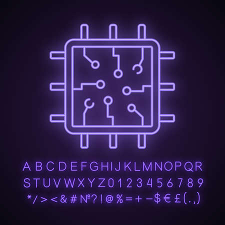 Chip neon light icon. Processor. Central processing unit. Artificial intelligence. Glowing sign with alphabet, numbers and symbols. Vector isolated illustration Illustration