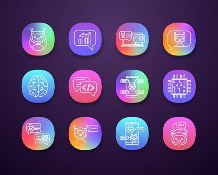 Chatbots app icons set. UI/UX user interface. Chat bots. Talkbots. Virtual assistants. Support, chat, code, messenger bots. Online helpers. Web or mobile applications. Vector isolated illustrations
