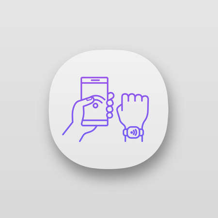 NFC bracelet connected to smartphone app icon. NFC phone synchronized with smartwatch. RFID wristband. UI/UX user interface. Web or mobile application. Vector isolated illustration