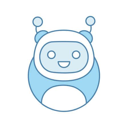 Icône de couleur Chatbot. Robot moderne. Talkbot. Aide en ligne. Assistant virtuel. Support de service numérique. Illustration vectorielle isolé Vecteurs