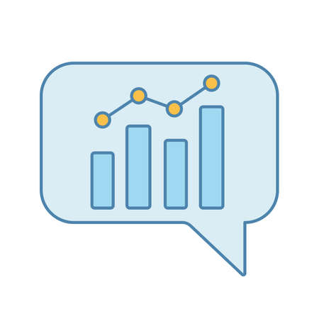Chatbot graph color icon. Chat bot diagram and analytics. Virtual assistant. Trading bot. Isolated vector illustration