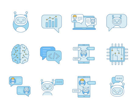 Chatbot color icons set. Chat bots. Talkbots. Virtual assistants. Support, chat, code, messenger bots. Online helpers. Isolated vector illustrations Stock fotó - 107531024