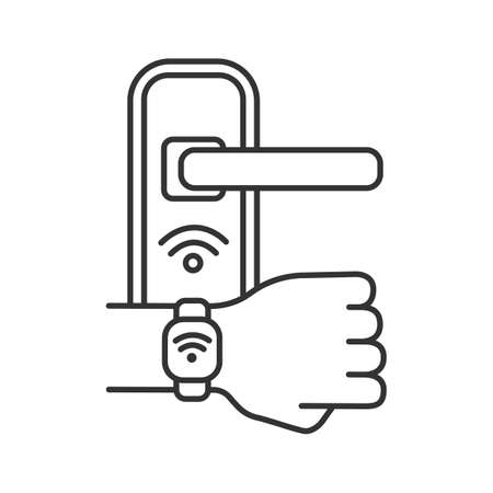 Door lock opened with NFC bracelet linear icon. Thin line illustration. Near field communication padlock. RFID wristband. Contour symbol. Vector isolated outline drawing. Editable stroke