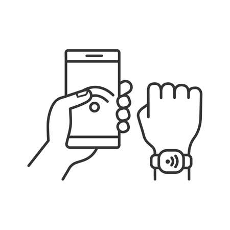 NFC bracelet connected to smartphone linear icon. Thin line illustration. NFC phone synchronized with smartwatch. RFID wristband. Contour symbol. Vector isolated outline drawing. Editable stroke