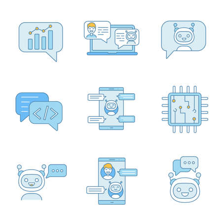 Chatbots color icons set. Talkbots. Graph, support, code, messenger, chat bots. Modern robots. Chatterbots. Virtual assistants. Isolated vector illustrations Illustration