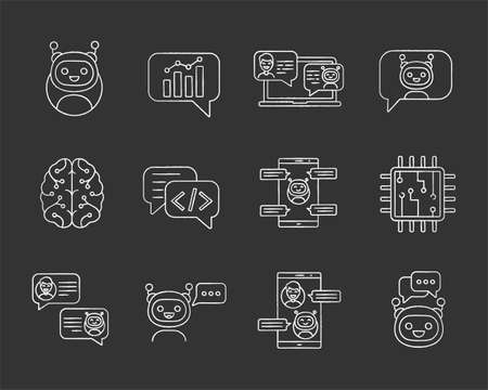 Chatbots chalk icons set. Chat bots. Talkbots. Virtual assistants. Support, chat, code, messenger bots. Online helpers. Isolated vector chalkboard illustrations