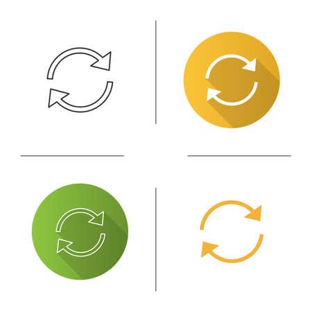 Actualizar el icono de flechas. Recargar. En caché. Flechas circulares. Sincronización. Diseño plano, estilos lineales y de color. Ilustraciones vectoriales aisladas
