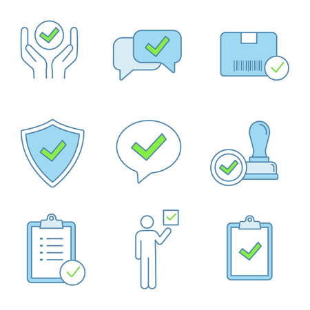 Approve color icons set. Quality service, approved chat, delivery, security, dialog, stamp, task planning, voter, clipboard with checkmark. Isolated vector illustrations