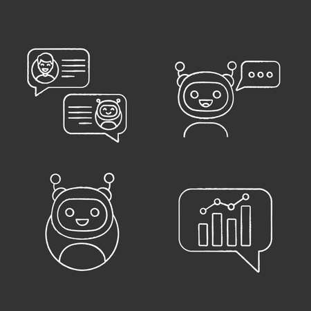 Chatbots chalk icons set. Virtual assistants. Messenger, graph and chat bots. Modern robots. Smartphone chatterbots. Isolated vector chalkboard illustrations