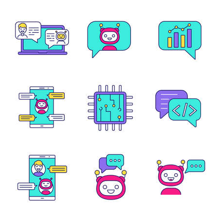 Chatbots color icons set. Talkbots. Support service, chat, messenger bots. Modern robots. Digital brain and processor. Chatterbots. Isolated vector illustrations