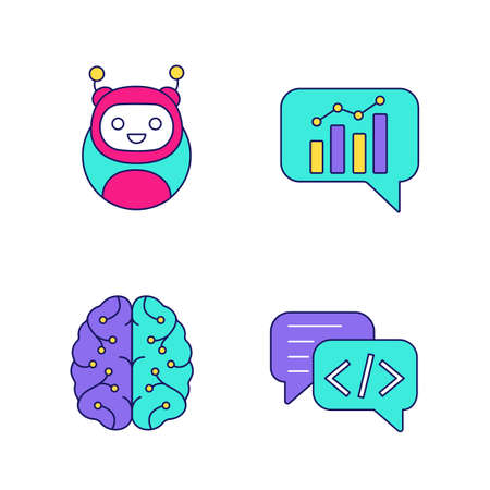 Chatbots color icons set. Virtual assistants. Code, statistics, support chat bots. Modern robots. Digital brain. Chatterbots. AI. Isolated vector illustrations
