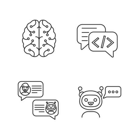 Chatbots linear icons set. Thin line contour symbols. Virtual assistants. Code, messenger, support, chat bots. Modern robots. Digital brain. Isolated vector outline illustrations. Editable stroke