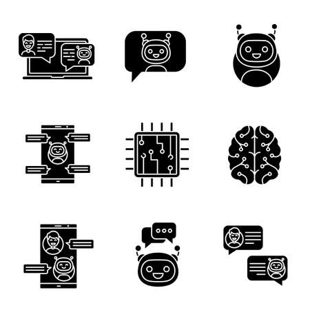 Chatbots glyph icons set. Silhouette symbols. Talkbots. Support service, chat, messenger bots. Modern robots. Digital brain and processor. Chatterbots. Vector isolated illustration