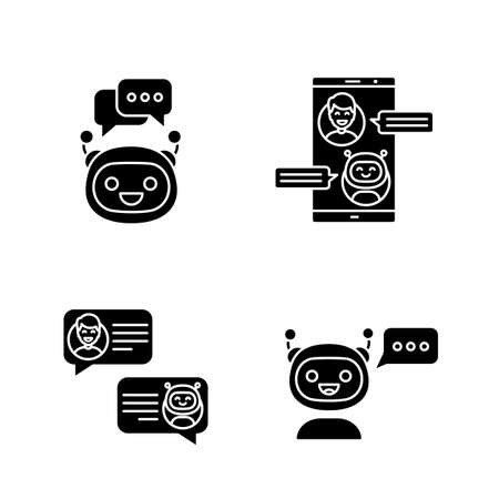 Chatbots glyph icons set. Silhouette symbols. Virtual assistants. Messenger and chat bots. Modern robots. Smartphone chatterbots. Vector isolated illustration