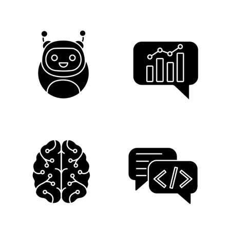 Chatbots glyph icons set. Silhouette symbols. Virtual assistants. Code, statistics, support chat bots. Modern robots. Digital brain. Chatterbots. AI. Vector isolated illustration Illustration