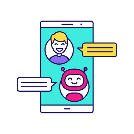 Support chatbot color icon. Messenger bot. Modern robot. Virtual assistant. Chat bot. Man chatting with bot on smartphone. Isolated vector illustration