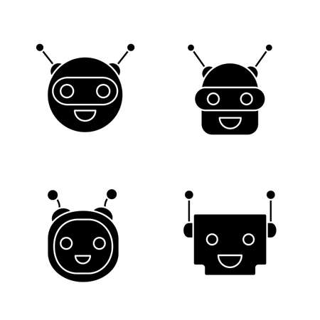 Chatbots glyph icons set. Silhouette symbols. Talkbots. Laughing virtual assistants collection. Conversational agents. Modern robots. Vector isolated illustration