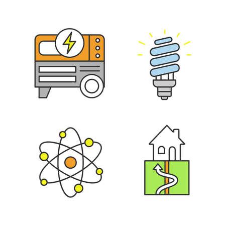 Conjunto de iconos de colores de energía eléctrica. Generador de energía portátil, lámpara fluorescente compacta, geotermia y energía nuclear. Ilustraciones vectoriales aisladas