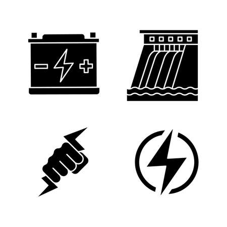 Electric energy glyph icons set. Accumulator, hydroelectric dam, power fist, lightning bolt. Silhouette symbols. Vector isolated illustration Illustration