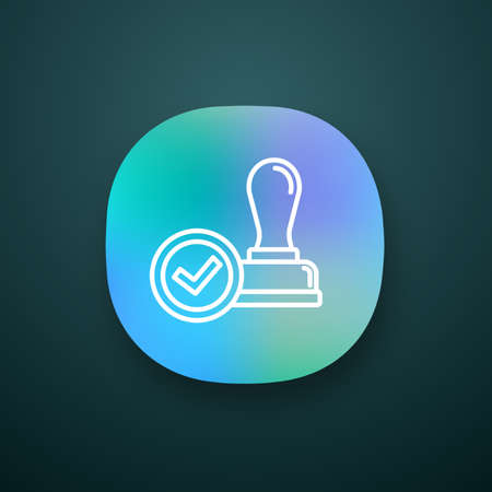 Stamp approved app icon. Stamp of approval. Verification and validation. Certified, approved. UI/UX user interface. Web or mobile application. Vector isolated illustration Illustration