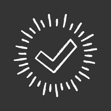 Checkmark chalk icon. Successfully tested. Tick mark. Quality assurance. Approved.  Verification and validation. Quality badge. Isolated vector chalkboard illustration