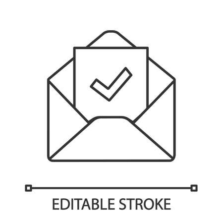 Lineares Symbol zur E-Mail-Bestätigung. Antwort auf E-Mail-Genehmigung. Dünne Linienillustration. Einstellungsbrief. E-Mail mit Häkchen. Bestätigungsschreiben für die Beschäftigung. Vektor isolierte Umrisszeichnung. Bearbeitbarer Strich