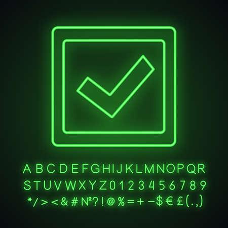 Casilla de verificación icono de luz de neón. Marque la casilla. Marca de verificación. Votación. Verificación y validación. Aprobado. Signo brillante con alfabeto, números y símbolos. Ilustración de vector aislado