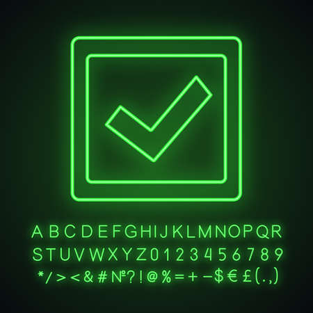 Checkbox neon light icon. Check box. Checkmark. Voting. Verification and validation. Approved. Glowing sign with alphabet, numbers and symbols. Vector isolated illustration