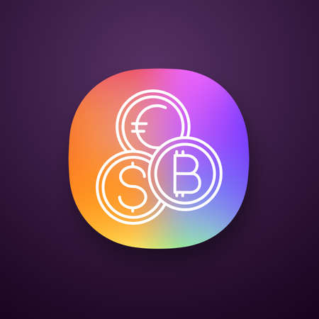 Currency exchange app icon. UI/UX user interface. Cryptocurrency. Bitcoin, US dollar and euro exchange. Blockchain. Web or mobile application. Vector isolated illustration Illustration