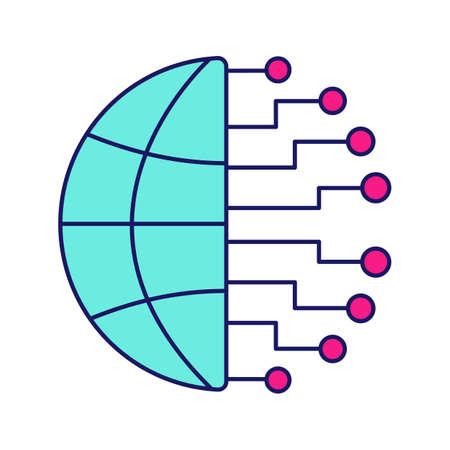 Icône de couleur de données volumineuses. Cloud computing. Réseau de neurotechnologie. Intelligence artificielle. Illustration vectorielle isolé