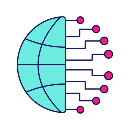Big data color icon. Cloud computing. Neurotechnology network. Artificial intelligence. Isolated vector illustration