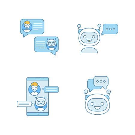 Chatbots color icons set. Virtual assistants. Messenger and chat bots. Modern robots. Smartphone chatterbots. Isolated vector illustrations