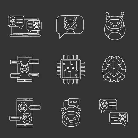 Chatbots chalk icons set. Talkbots. Support service, chat, messenger bots. Modern robots. Digital brain and processor. Chatterbots. Isolated vector chalkboard illustrations