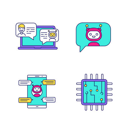 Chatbots color icons set. Virtual assistants. Messenger and chat bots. Processor. Modern robots. Smartphone chatterbots. Isolated vector illustrations