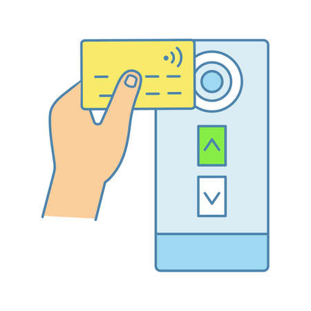 Icona di colore del lettore di carte di credito NFC. Pagamento del trasporto pubblico NFC. Near field communication. Scheda di controllo accessi per ascensore porta RFID. Illustrazione vettoriale isolato