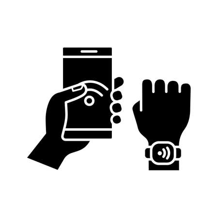 NFC bracelet connected to smartphone glyph icon. NFC phone synchronized with smartwatch. Near field communication.RFID wristband. Silhouette symbol. Negative space. Vector isolated illustration Vectores