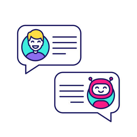 Support chatbot color icon. Talkbot. Online virtual assistant. Chat bot. Modern robot. Man chatting with messenger bot. Isolated vector illustration