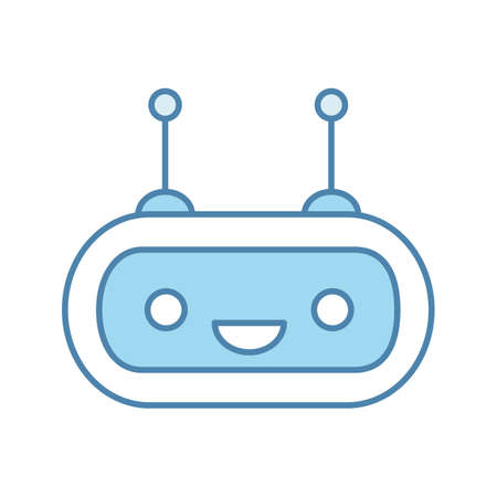 Chatbot color icon. Talkbot. Laughing chat bot. Modern robot. Virtual assistant. Conversational agent. Isolated vector illustration