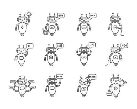 Chatbots linear icons set. Virtual assistants. Talkbots. Chat, error, buy, free, repair, idea bots. Modern robots. Thin line contour symbols. Isolated vector outline illustrations. Editable stroke