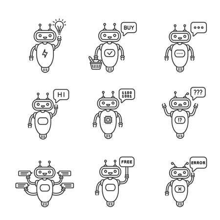Chatbots linear icons set. Talkbot. Idea, buy, text, hi, code, question, chat, free, error bots. Modern robots. Thin line contour symbols. Isolated vector outline illustrations. Editable stroke